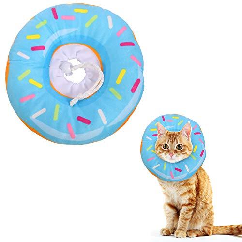 Xinzistar Halskrause Katzen Halsband Soft Weich Katze Schutzkragen Anti Biss Safety Einstellbarer Schützender Kragen für Haustiere Katzen Hunde Welpen Kätzchen (Blau Donut, XS)