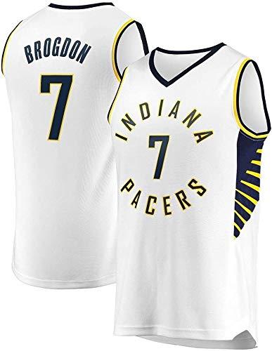 BPZ Camisetas de la NBA del Baloncesto de los Hombres, Malcolm Brogdon 7# Indiana Pacers Jersey - Chaleco Deportivo de Malla Tops Uniformes de Camiseta sin Mangas,2,L (175~180CM / 75~85KG)