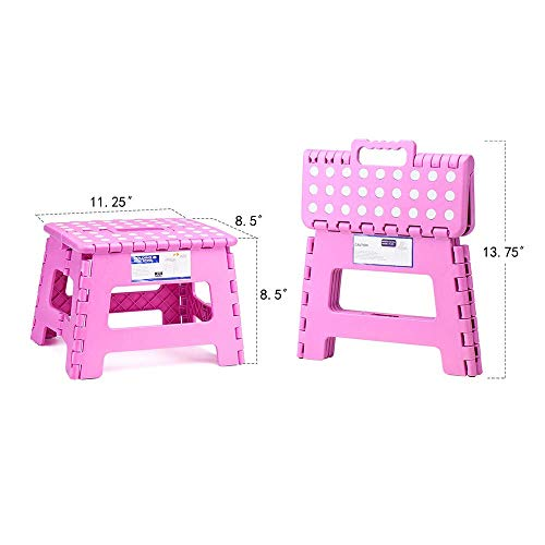 Delxo 9Inch Folding Step Stool - The Lightweight Step Stool is Sturdy and Safe Enough for Kids. Opens Easy with One Flip. Great for Kitchen, Bathroom, Bedroom Pink