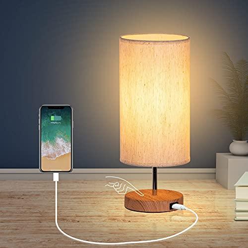 Lámpara de Mesilla de Noche con Puertos de Carga USB, Control Táctil de 3 Temperaturas de Color y...