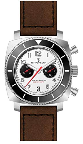 TEMPORE LUX V ONE CHRONOGRAPH 04 WHITE - Brown Italian Strap + Free Rubber...