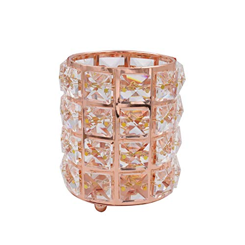 V-house Crystal Cup Pen Holder Multi Purpose Use Pen Holder Makeup Brush Holder Container for Home School Office Desk (Rose Gold)