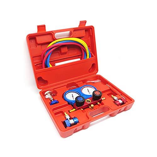 Socialism R134A HVAC A/C Kit de refrigeración Colector de CA Juego de medidores Bomba de vacío de Aire del automóvil Reparación de Aire Acondicionado Herramienta de llenado de flúor-Multicolor