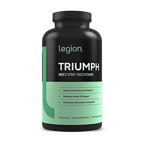 Legion Triumph Daily Sport Multivitamin Supplement - Vitamins and Minerals for Athletes Helps w/Mood, Stress, Immune System, Heart Health, Energy, Sports & Bodybuilding Workouts. 30 Svgs (Men)