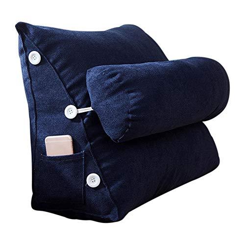 Rich-home Lesekissen Rückenkissen Dreieck Rückenlehne Keilkissen Taille Mit hat Taschen an der Seite Kissen Sofa Geeignet für Büro, Lesen oder Fernsehen Dunkelblau