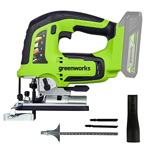 Greenworks Tools 3601407 Greenworks Sierra de calar sin Cable GD24JS (Li-Ion 24 V 25,4 mm Longitud 3000 Puntadas por Minuto Cambio de Hoja sin Herramientas con luz LED sin batería ni Cargador)