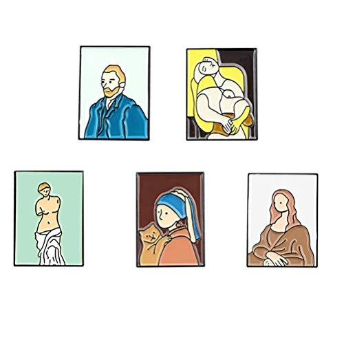 VALICLUD 5 Pcs Cartoon Brooch Handmade Enamel Badge Van Gogh Mona Lisa Pin...
