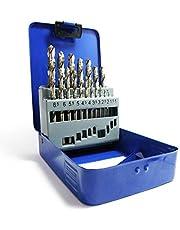 S&R Juego de brocas para metal, 135°, DIN 338, pulidas, HSS-G Titanium, brocas en calidad profesional