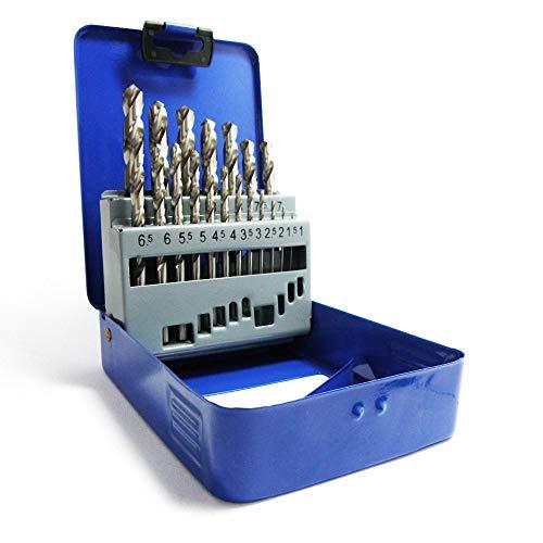 S&R Punte Trapano Metallo Acciaio HSS Rettificate per Ferro 1-10 mm, 118°, Set 19 pezzi, serie GM, DIN 338. Scatola di metallo Qualità Professionale
