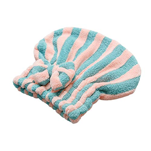 planuuik Coral Velvet Quick Hair Dry Hat Bowknot Contrast Color Stripes Bath Towel Cap