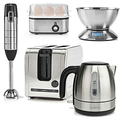 TronicXL Retro Metall Design Frühstücksset Toaster 2 Schlitze + 1l Wasserkocher Edelstahl + Eicherkocher + Küchenwaage + Stabmixer Küchenset Set Frühstück 2 teilig Frühstückset Küchengeräte