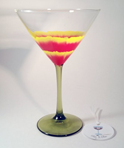 Hand Painted Poppy Martini Glass