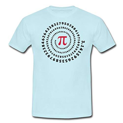 Pi π Spirale Männer T-Shirt, S, Sky