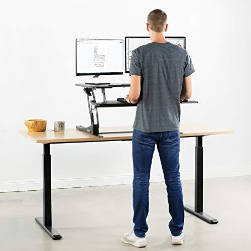 VIVO Black Height Adjustable 36 inch Stand Up Desk Converter Workstation, Quick Sit to Stand Tabletop Monitor Riser with Extra Large Keyboard Tray, DESK-V000V2