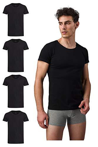 Burnell & Son Business Unterhemd mit Kurzarm und Rundhals für Herren aus atmungsaktiver Baumwolle Slim Fit 4er Pack Schwarz Größe XXXL