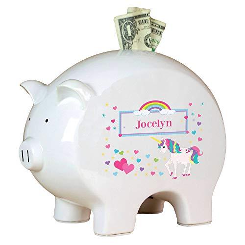 MyBambino Personalized Unicorn Piggy Bank for Baby Girl Nursery