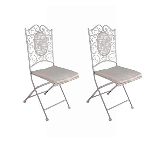Silla Forja Clásica - Hierro en Color Blanco decapé - (Pack de 2) - Plegable