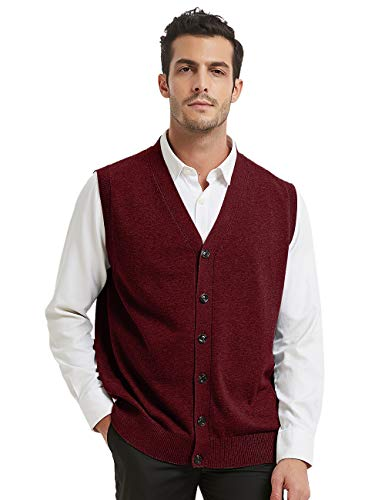 TOPTIE Mens Sweater Vest Solid Knitted Lightweight Thermal Cardigan-Wine Red-XXL