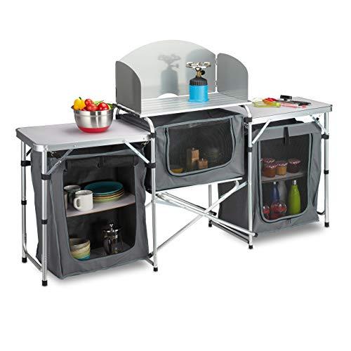 Relaxdays Andere campingkeuken inklapbaar, outdoor keuken camping, inclusief draagtas, aluminium frame, buitenkeuken, wit-grijs, 1 stuk