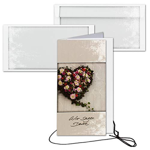 10x Trauerkarte mit Umschlag Set Danksagung - Blumen-Herz- DIN Lang Hoch-Format - Danksagungskarten Trauerkarten nach Beerdigung - Trauer-Papiere by Gustav NEUSER