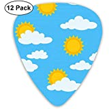Sun y Cloud Picks Set 12 Púas de ukelele, que incluyen 0.46 mm, 0.71 mm, 0.96 mm guitarra acústica Pick and Pick Box