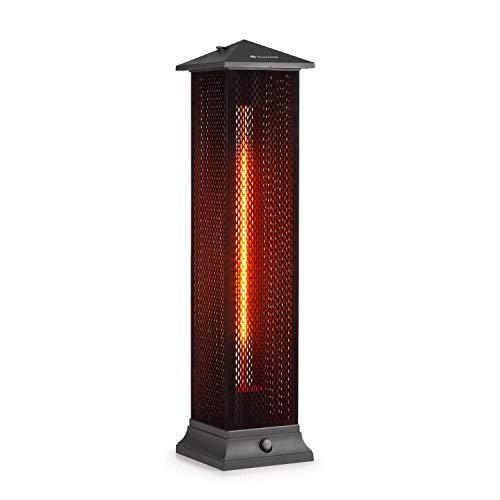blumfeldt Heat Tower Infrarotheizung Standheizstrahler Elektroheizung, Leistung: 1500 Watt, IR ComfortHeat, Carbon-Heizelement, Schutzart: IP55, beflocktes Schutzgitter, Retro-Design, schwarz
