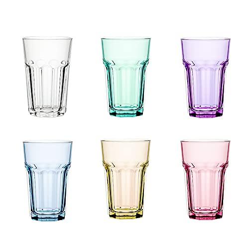Unishop Set de 6 Vasos de Colores Pastel, Vasos de Cristal Multicolor...