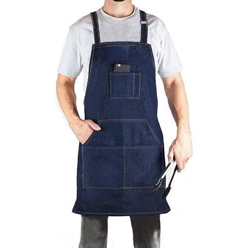 Durable Denim Jean Tool Apron with 4 Pockets Waterproof Adjustable Canvas Lightweight Work Apron Blue