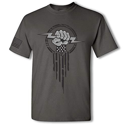 Product Image 6: Electrician Superhero Electrical Worker Lightning Bolt Fist Short Sleeve T-Shirt