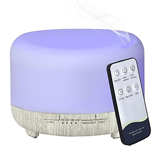 Hantoc Humidificador Aromaterapia Ultrasónico 450ml, Difusores de Aceite Perfumado Lámpara LED Colorida con Función Control Remoto para Yoga Salon SPA Vivir,Dormir, Bañarse