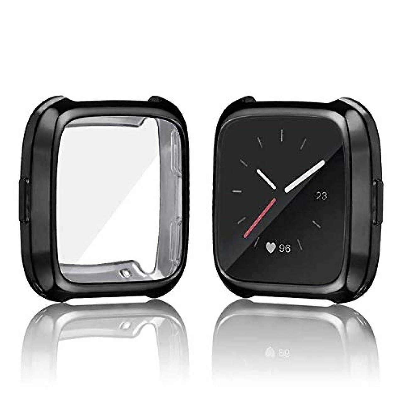 やけどかわいらしい設計図Fitbit Versa 2 ケース A-VIDET メッキ加工 柔らかい TPU ソフトケース 落下防止 軽量超簿 耐衝撃性 脱着簡単 褪せない Apple Watch 保護ケース Fitbit Versa 2に対応 (ブラック)