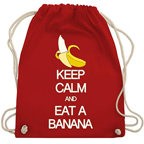 Shirtracer Keep calm - Keep calm and eat a banana - Unisize - Rot - bananen rucksack - WM110 - Turnbeutel und Stoffbeutel aus Baumwolle