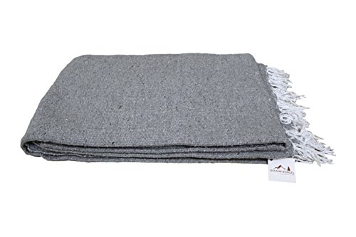 Open Road Goods Handmade Grey Yoga Blanket - Thick Mexican Blanket or Throw - Made for Yoga!