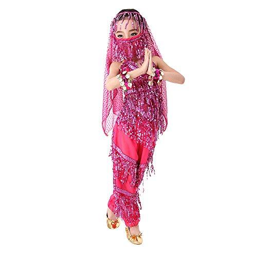 SymbolLife Mädchen Bauchtanz Kostuem Kinder tanzkleid, Trägertop + Pluderhosen + Kopftuch+ Armbänder+ Handtuch XXL Rosa