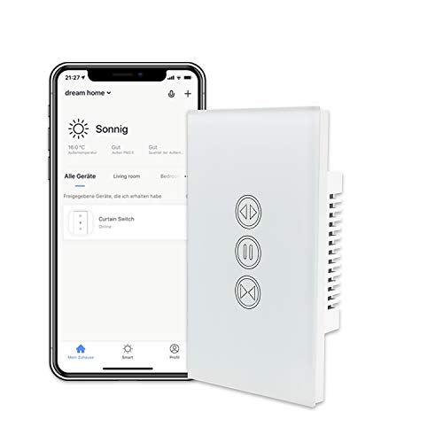 LoraTap WiFi Curtain Switch, Smart Touch Wall Switch Glass Panel Wireless Remote Timer Switch for Motorized Curtain Electric Roller Blinds, Compatible with Alexa Echo and Google Home