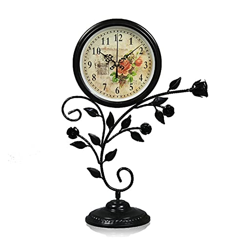 XGJJ Mesa Reloj Sala de Estar Estante Mesa de Mesa Reloj Pastoral País Decoración de la casa Dormitorio Reloj de Noche Silencio Adornos de Hierro Negro Reloj de Cuarzo Negro