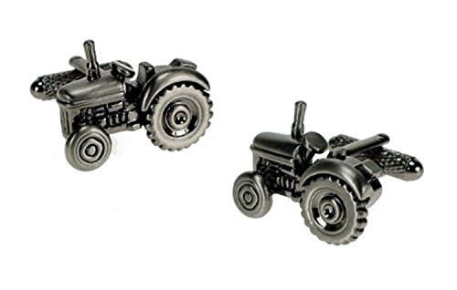 Traditionnel Tracteur Bruni Design Argenté boutons de manchettes en boîte cadeau - Onyx-Art London CK266