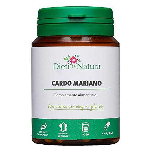 Cardo Mariano 200 cápsulas de Dieti Natura. Detox para el hígado [Fabricado en Francia][Garantía Sin OGM ni Gluten]