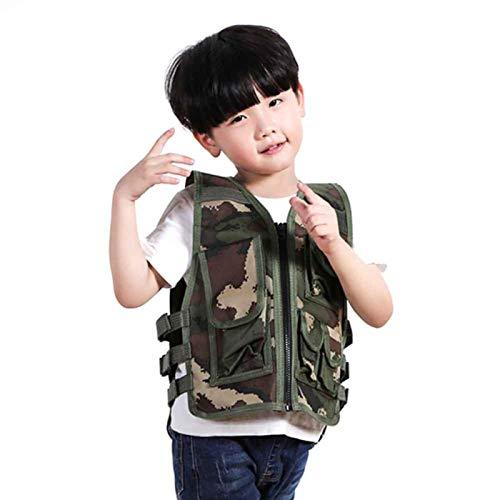Modonghua Chaleco TacticaI para niños, ligero, ajustable, con cremallera, transpirable, chaleco suave para entrenamiento militar/operaciones de campo y misiones especiales