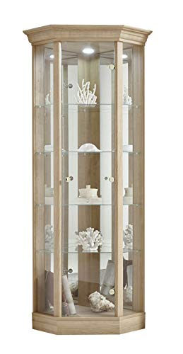 Fully Assembled HOME Corner Cabinet with Pelmet, Glass Display Case, Light Oak, Moveable Glass Shelves