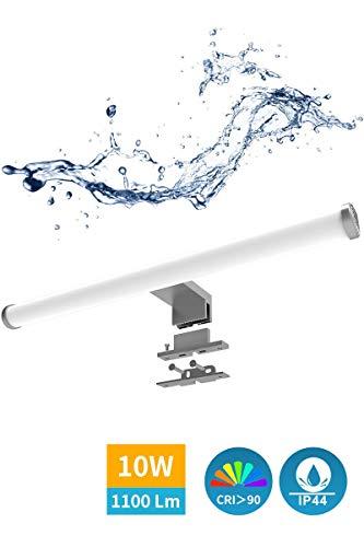 Lámpara LED de espejo de Dilumen, 10 W, 1100 lm, 40 cm, 230 V, blanco neutro, 4000 K, lámpara de baño de acero inoxidable IP44, resistente al agua, clase II