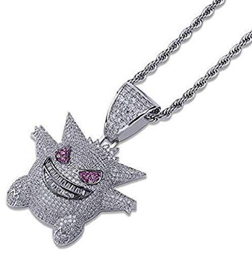Pokemon collana di Hip Hop della collana di diamante fuori ghiacciato cristallo del collana con 24' Rope Chain inox per gli uomini le donne