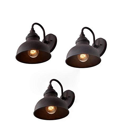 3 Packungen American Vintage Garten Lampe Outdoor Retro Wandleuchte Wasserdicht Industrie Außenwand Außen Hängelampe Antik Schmiedeeisen Küche Flur Außenwand Laterne