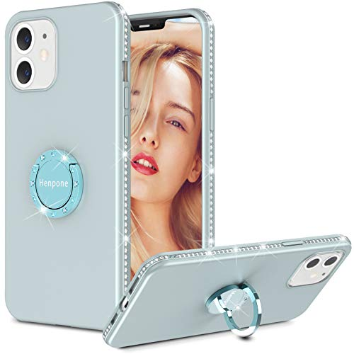 Henpone iPhone 12/12 Pro Case for Women | Diamond Bling iPhone New Case for Girl | Design for iPhone 2020 6.1 inch Flash Rhinestone Sparkle Case with Ring Holder - Gray Blue 6.1 inch