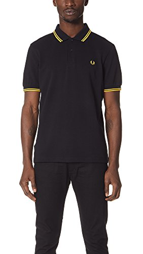 Fred Perry Twin Tipped Shirt, Polo Uomo, Nero (Black/Yellow/Yellow), X-Small