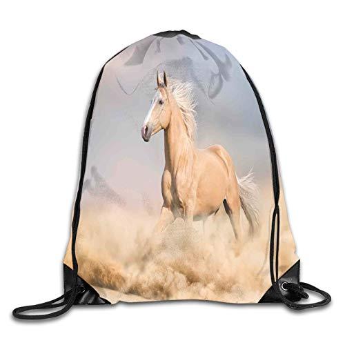 Palomino Caballo en la arena del desierto con pelo largo rubio masculino y cola poder, diseño de animales salvajes con cordón, mochila de hombro, bolsa de deporte