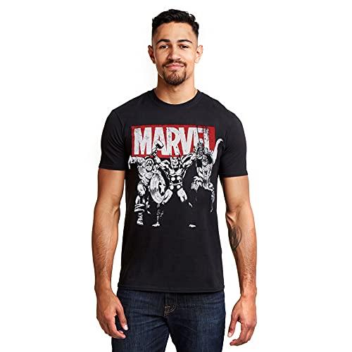 Marvel Trio Heroes T-Shirt, Noir (Black Blk), (Taille Fabricant: Medium) Homme