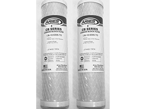 """Aries 2-Pack CB-10-6305-TO 9.75"""" x 2.5"""" Carbon Block - Chlorine, Taste & Odor Reduction - Made in USA"""