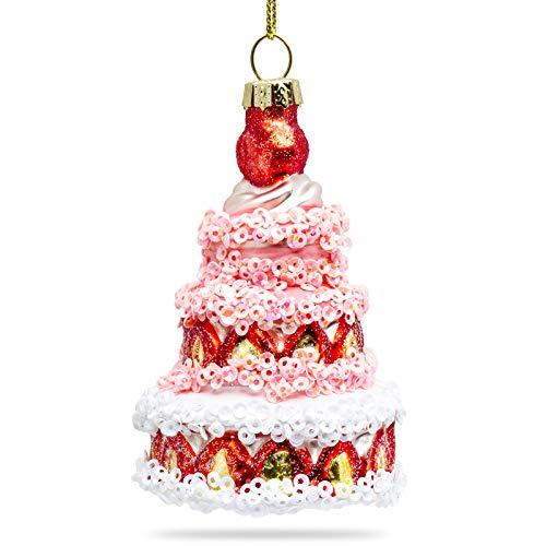 SIKORA BS467 Erdbeer Torte Christbaumschmuck Glas Figur Weihnachtsbaum Anhänger