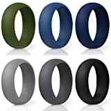 MEATFLY. Silicone Wedding Rings for Men, 6 Pack & Single Silicone Rubber Wedding Bands, Soft Safety...